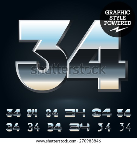 Vector set of glossy and shiny metal steel font. Numbers 3 4 - stock vector