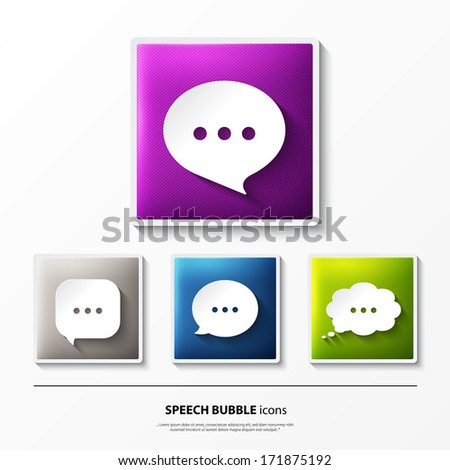 Vector set of glossy icons on button with speech bubbles. - stock vector