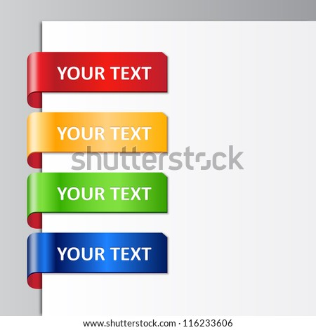 Vector set of glossy plastic tags. 10 EPS - stock vector