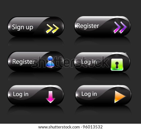 Vector set of glossy shiny buttons for log-in/ security page - stock vector