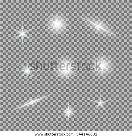 Vector set of glowing light bursts on grey white. Gradient transparent stars, lightning flare. Magic natural effects. Banner for Christmas celebrate. Abstract template for your design and business. - stock vector
