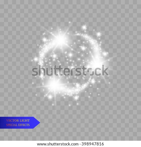 Vector set of glowing light bursts with sparkles on transparent background.  - stock vector