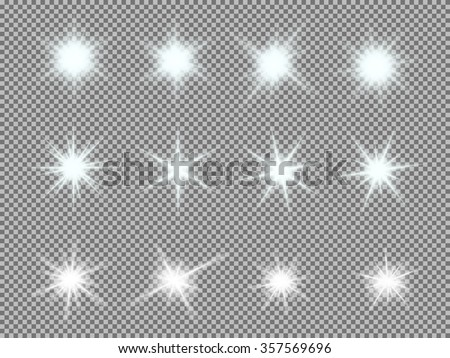Vector set of glowing light bursts with sparkles on transparent background. Transparent gradient stars, lightning flare. Magic, bright, natural effects. - stock vector
