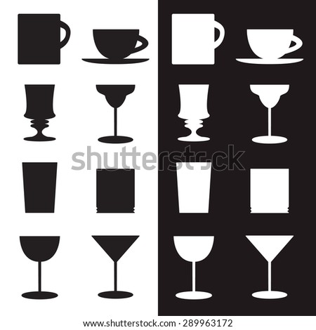 Vector set of goblets, cups, glass silhouettes