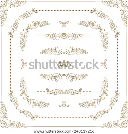 Vector set of gold decorative horizontal floral elements, corners, borders, crown. Page decoration. - stock vector