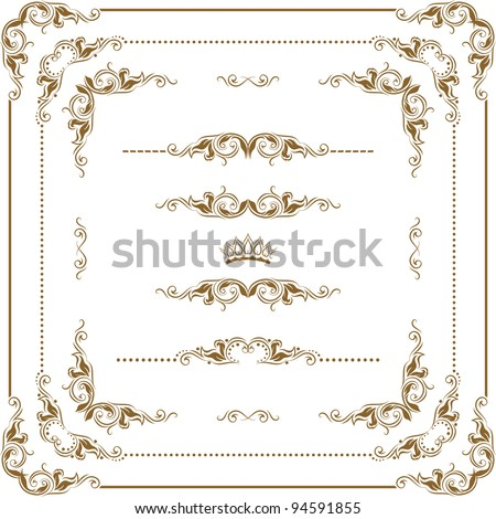 Vector set of gold decorative horizontal floral elements, corners, borders, frame, crown. Page decoration. - stock vector