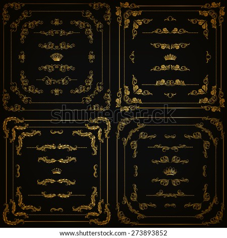 Vector set of gold decorative horizontal floral elements, corners, borders, frame, dividers, crown on black background. Page, web site decoration. Vector illustration EPS 10.
