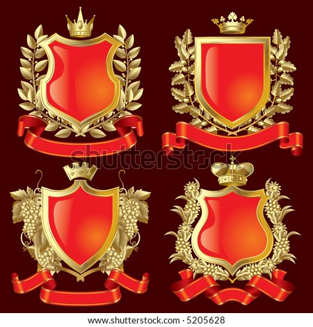 Vector set of gold heraldic symbols - stock vector
