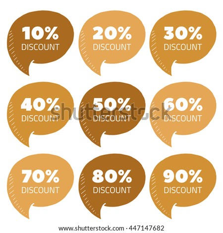 Vector set of gold percent discount speech bubble, sale illustration