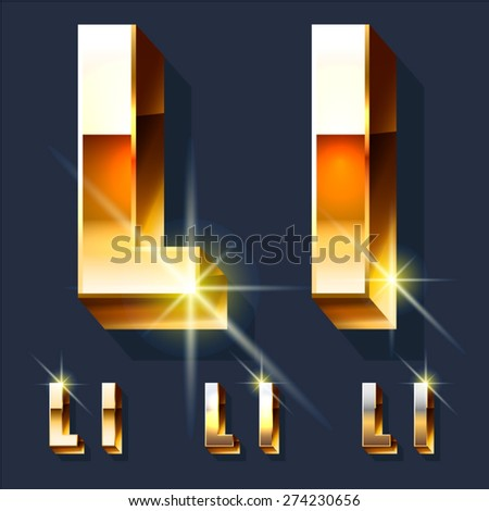 Vector set of gold shiny 3D alphabet. Letter L - stock vector