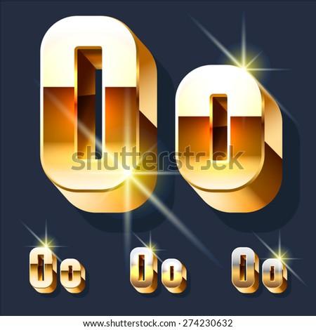 Vector set of gold shiny 3D alphabet. Letter O - stock vector