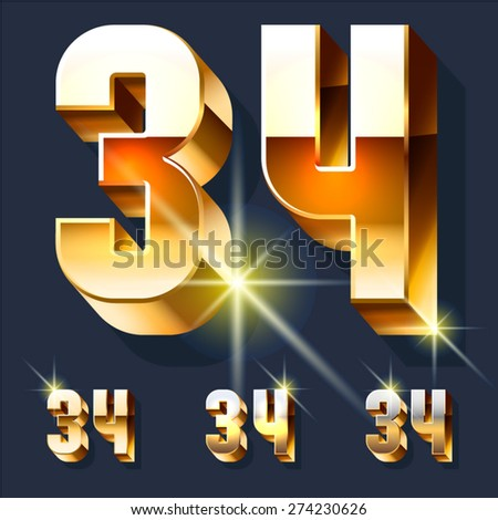 Vector set of gold shiny 3D alphabet. Numbers 3 4 - stock vector