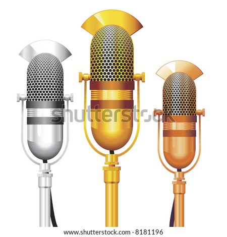 Vector set of gold, silver and bronze Retro Microphones. No transparency. - stock vector