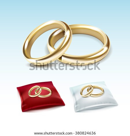 Vector Set of Gold Wedding Rings on Red White Satin Pillow Isolated on White Background - stock vector