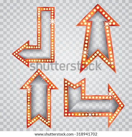 vector set of golden blank transparent arrows with bulb lamps - stock vector