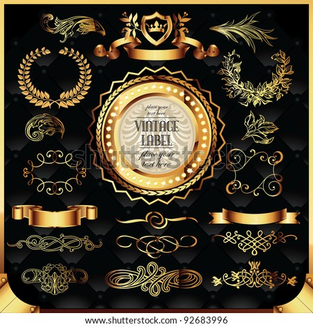 vector set of golden labels and page decoration elements - stock vector