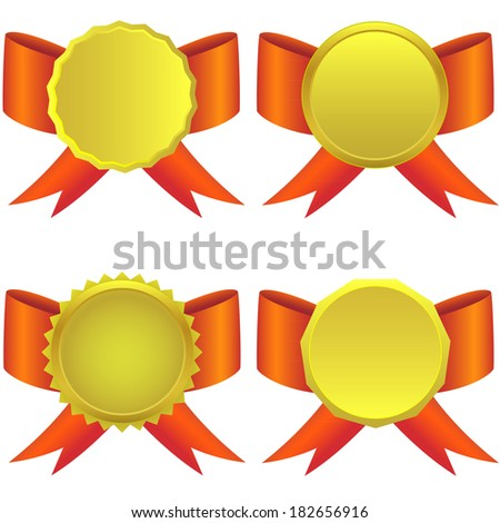 Vector set of golden medals on the white background. - stock vector