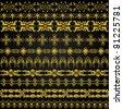 Vector set of golden ornate border set for design - stock photo