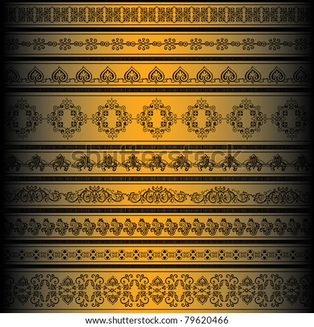 Vector set of golden ornate border set for design - stock vector
