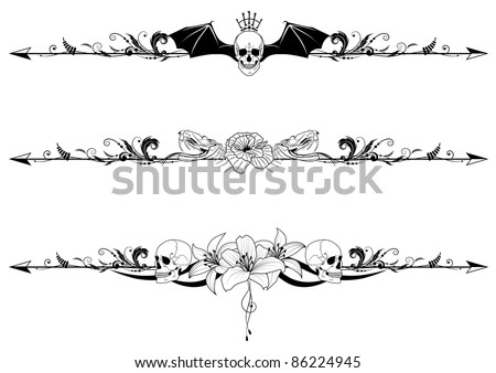 vector set of gothic borders with skulls and flowers - stock vector