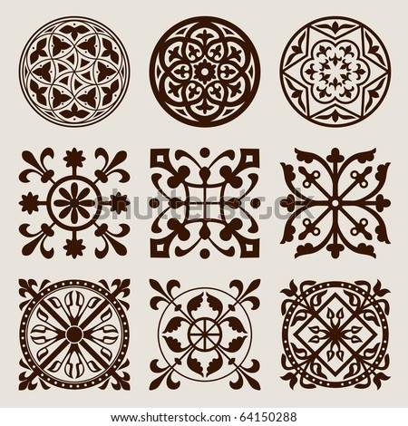 Vector set of gothic elements - stock vector