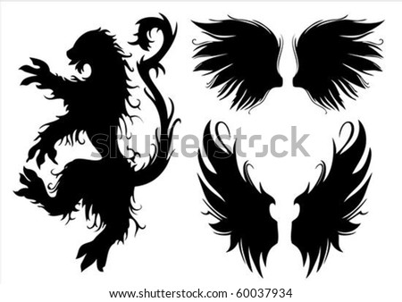 Vector set of gothic lion and wings. Easy to edit. - stock vector