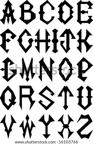 Vector Set Of Gothic Style Alphabet Letters