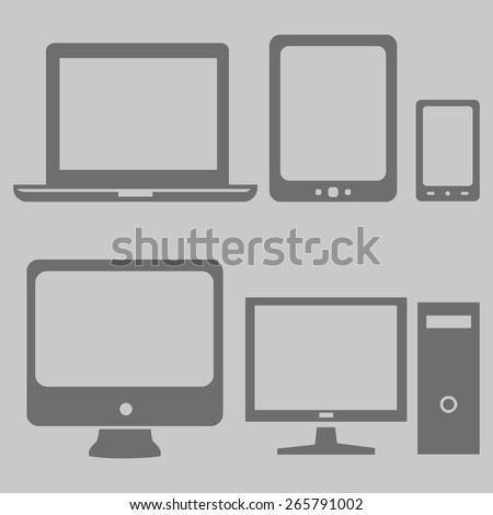 Vector Set of Gray Digital Devices Icons. Laptop, Tablet, Mobile, PC. - stock vector
