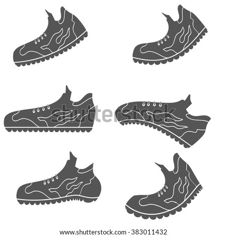 Vector Set of Gray Sport Shoe Icons