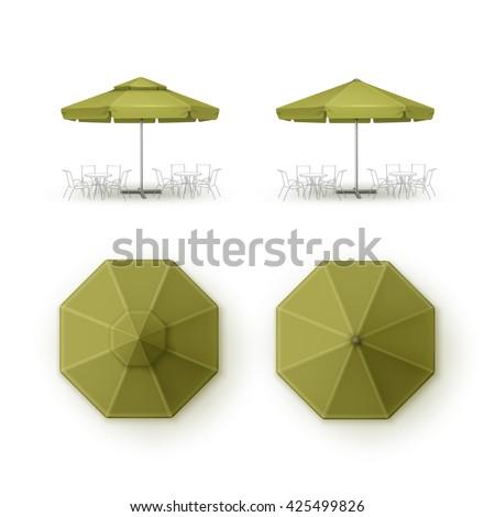 Vector Set Of Green Blank Patio Outdoor Market Beach Cafe Bar Pub  Restaurant Round Umbrella Parasol