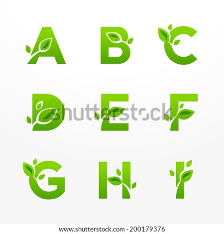 Vector set of green eco letters logo with leaves. Ecological font from A to I. - stock vector