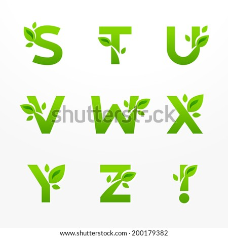 Vector set of green eco letters logo with leaves. Ecological font from S to Z. - stock vector