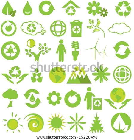 Vector set of green environmental icons
