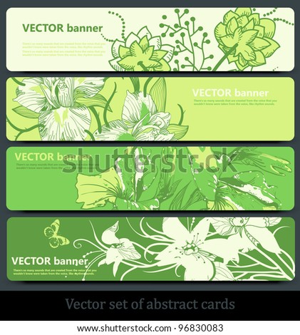 vector set of  green floral cards with summer blooming flowers - stock vector