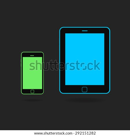 Vector Set Of Green Phone and Blue Tablet Computer. - stock vector