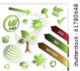 Vector set of green stickers - bio, eco, natural - stock vector