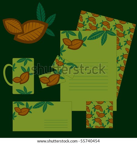 Vector set of green templates with coffee beans (can be used for cafe ) - stock vector