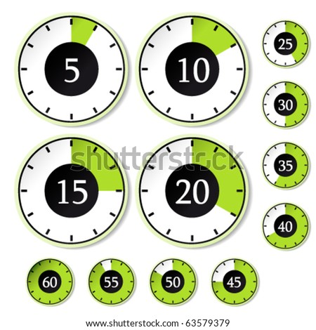 Vector set of green timers - stock vector