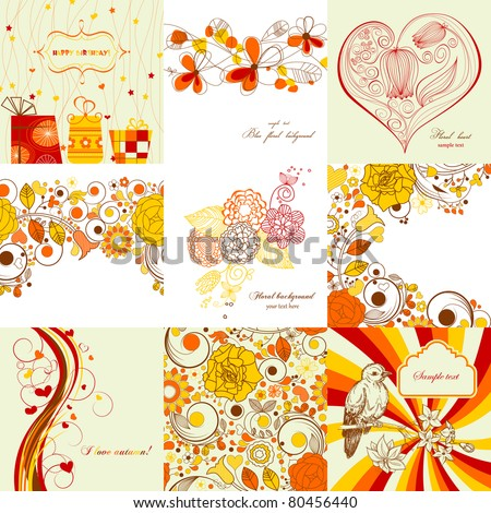 Vector set of greeting cards in autumn colors - stock vector