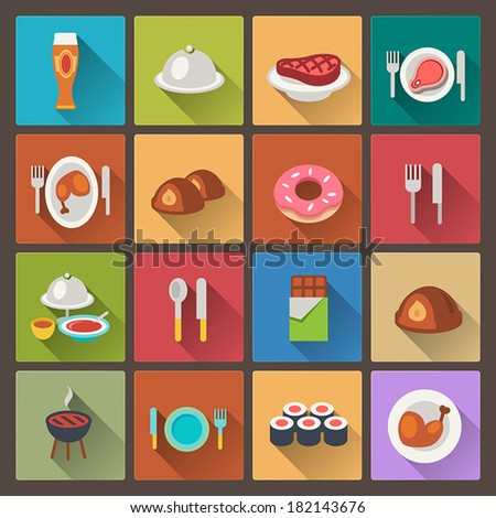 vector set of grill and sweets icons in flat design style - stock vector