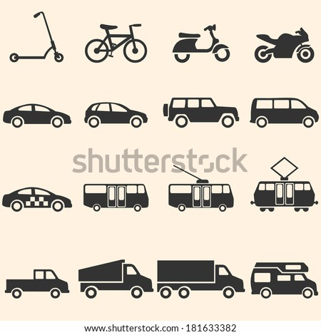 Vector Set of Ground Transportation Icons - stock vector
