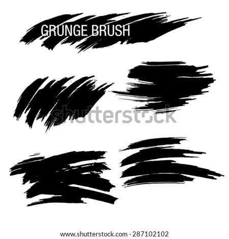 Vector set of grunge brush strokes - stock vector