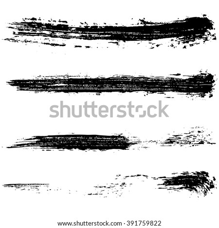 Vector set of grunge brush strokes. Black ink brush strokes. Black paint spots. Element for your design.