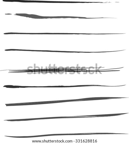 Vector Set of grunge brush strokes. Black vector brush strokes collection. Set of brushes and other design elements, hand drawn with ink. - stock vector