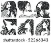 "Vector set of grunge closeup silhouette portraits of beautiful woman with long hair (From my big ""Vintage woman collection "") - stock vector"