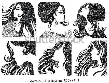 """Vector set of grunge closeup silhouette portraits of beautiful woman with long hair (From my big """"Vintage woman collection """") - stock vector"""