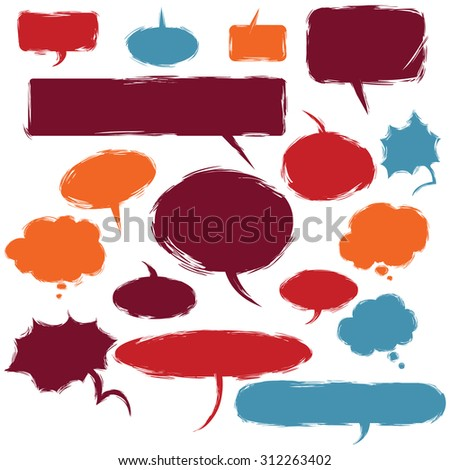 Vector Set of Grunge Comics  Bubbles. Talk and Think - stock vector