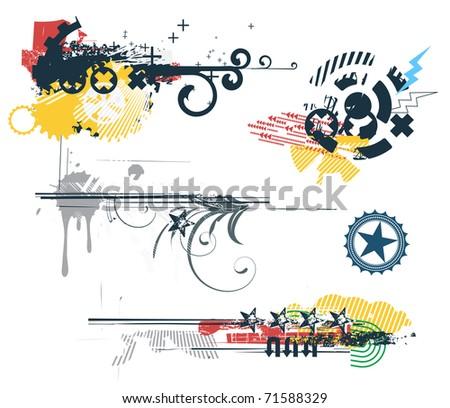 Vector set of Grunge Design Elements - stock vector