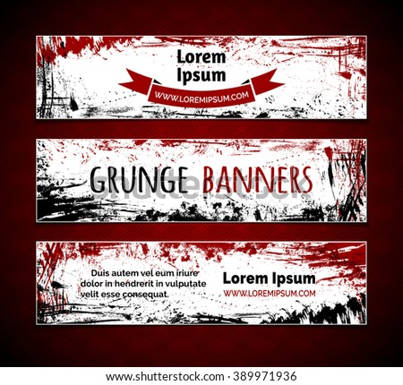 Vector set of grunge ink horizontal banners. Red and black hand-drawn ink stains, flourishes and blots. There is place for your text on white area. - stock vector