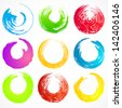 Vector set 5 of grunge rainbow circle brush strokes for frames, icons, design elements - stock photo